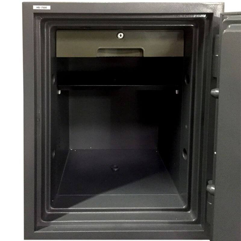 Hollon HS-750E Office Safe with Electronic Locks Viewed from the Front. Doors Opened Showing Interior Shelving.