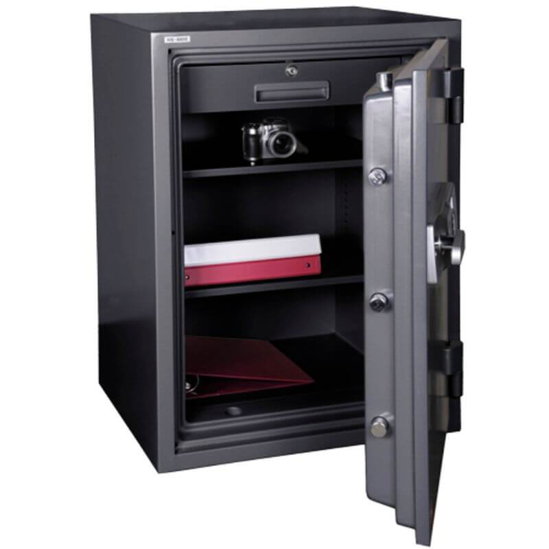 Hollon HS-880C Office Safe with Electronic Locks Viewed from the Front. Doors Opened Showing Interior Shelving.