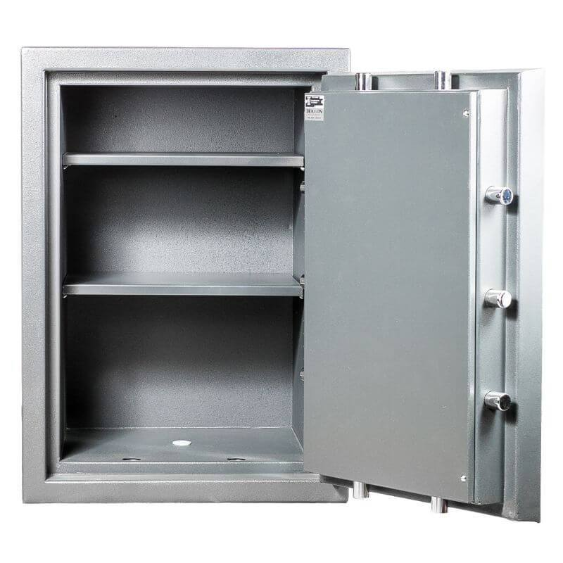 Hollon MJ-2618E TL-30 Rated Safe with Electronic Lock and Door Opened Showing Interior Shelving
