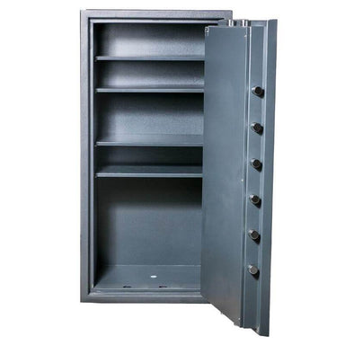 Hollon MJ-5824C TL-30 Rated Safe with Dial Lock and Door Opened Showing Interior Shelving