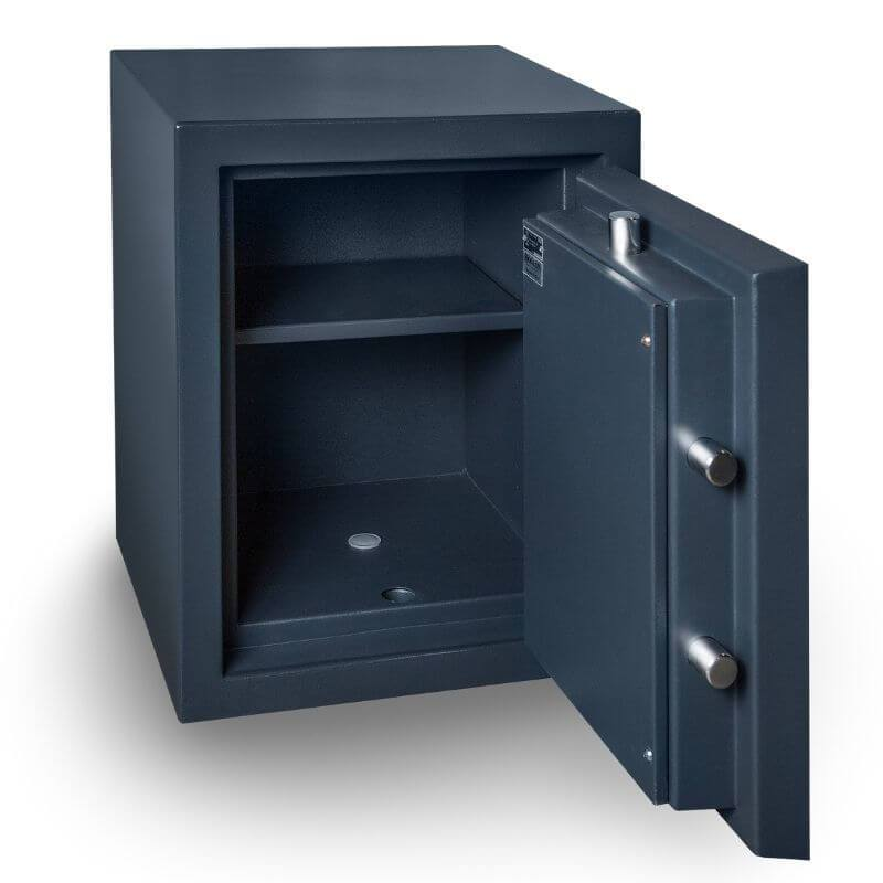 Hollon PM-1814E TL-15 Rated Safe with Electronic Lock and Door Opened Showing Interior Shelving