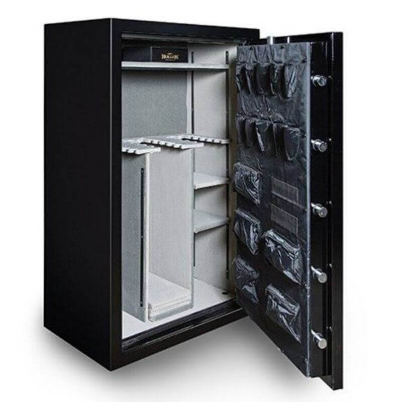 Hollon RG-39 Republic Gun Safes with Doors Opened Showing the Interior Shelving and Door Organizers.