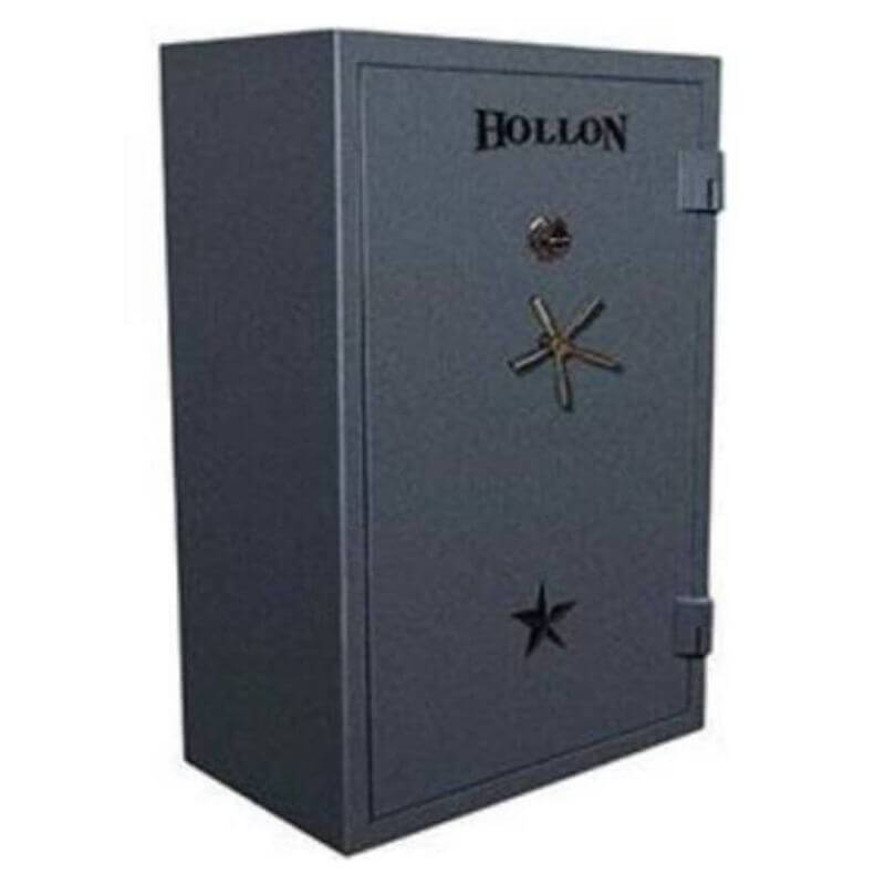 Hollon RG-42 Republic Gun Safes in Stealth Charcoal with Black Platinum Trims, Doors Closed and Viewed from the Front Left.
