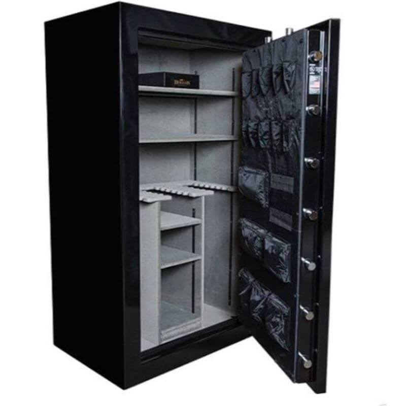 Hollon RG-42 Republic Gun Safes with Doors Opened Showing the Interior Shelving and Door Organizers.