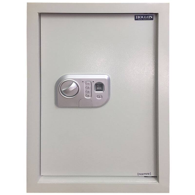 Hollon WSE-BIO-1 Biometric Wall Safe with Biometric Lock, Door Closed, Viewed Directly from the Front