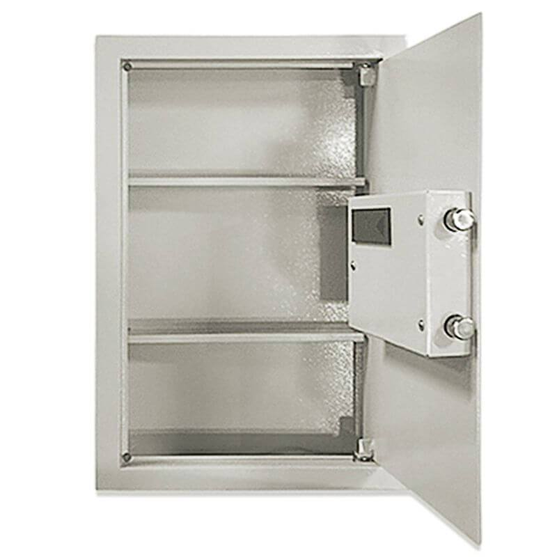 Hollon WSE-BIO-1 Biometric Wall Safe with Biometric Lock and Door Opened Showing Interior Shelving