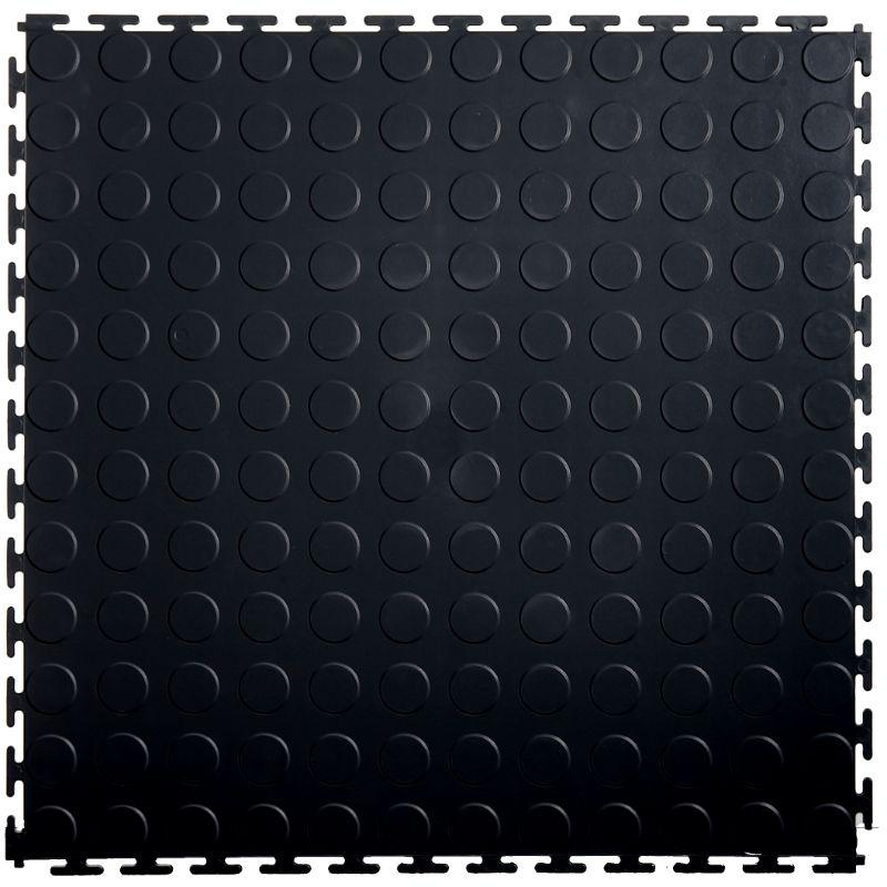 "Lock-Tile PVC Coin Tiles (19.625"" x 19.625"") in Black Shown From the Top"