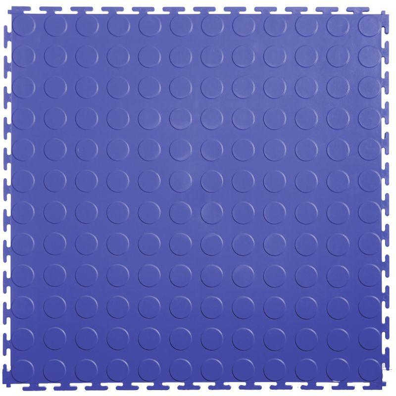"Lock-Tile PVC Coin Tiles (19.625"" x 19.625"") in Blue Shown From the Top"