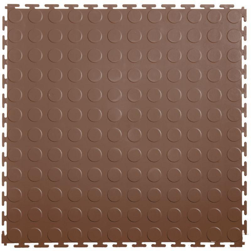 "Lock-Tile PVC Coin Tiles (19.625"" x 19.625"") in Brown Shown From the Top"