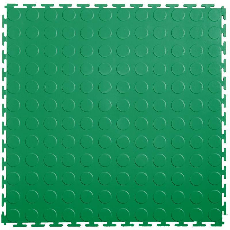 "Lock-Tile PVC Coin Tiles (19.625"" x 19.625"") in Green Shown From the Top"