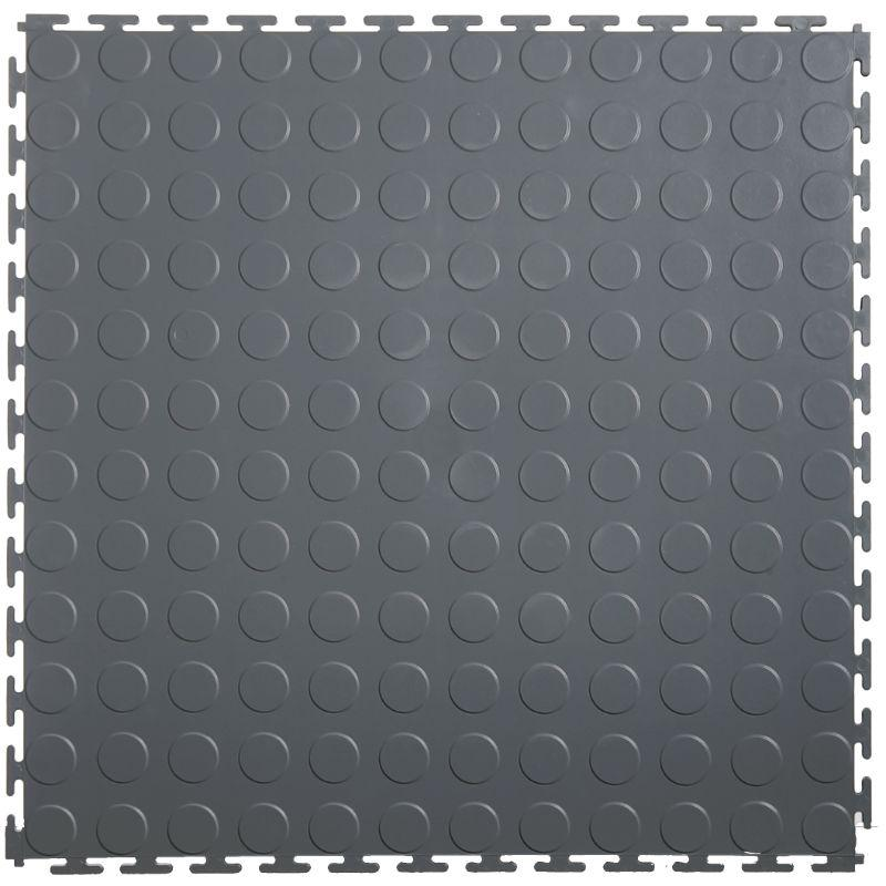"Lock-Tile PVC Coin Tiles (19.625"" x 19.625"") in Dark Grey Shown From the Top"