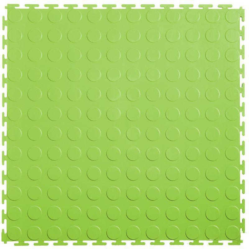 "Lock-Tile PVC Coin Tiles (19.625"" x 19.625"") in Neon or Light Green Shown From the Top"