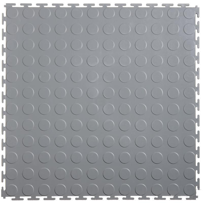 "Lock-Tile PVC Coin Tiles (19.625"" x 19.625"") in Light Gray Shown From the Top"