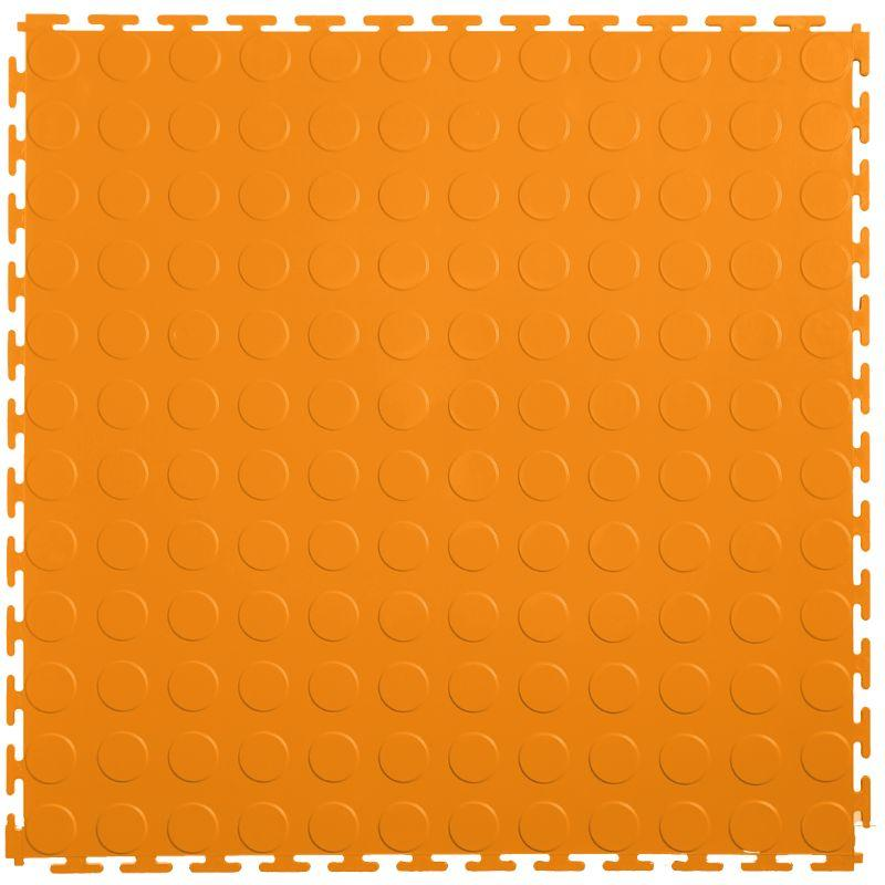 "Lock-Tile PVC Coin Tiles (19.625"" x 19.625"") in Orange Shown From the Top"