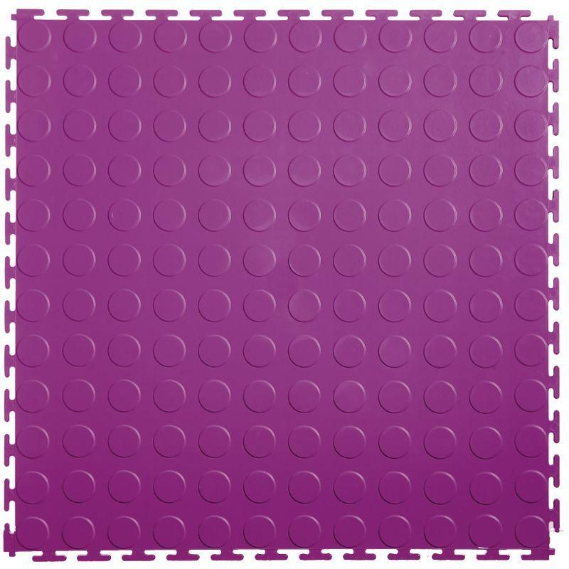 "Lock-Tile PVC Coin Tiles (19.625"" x 19.625"") in Purple Shown From the Top"