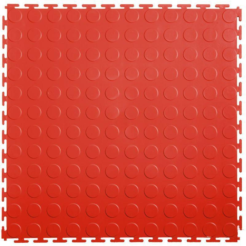 "Lock-Tile PVC Coin Tiles (19.625"" x 19.625"") in Red Shown From the Top"