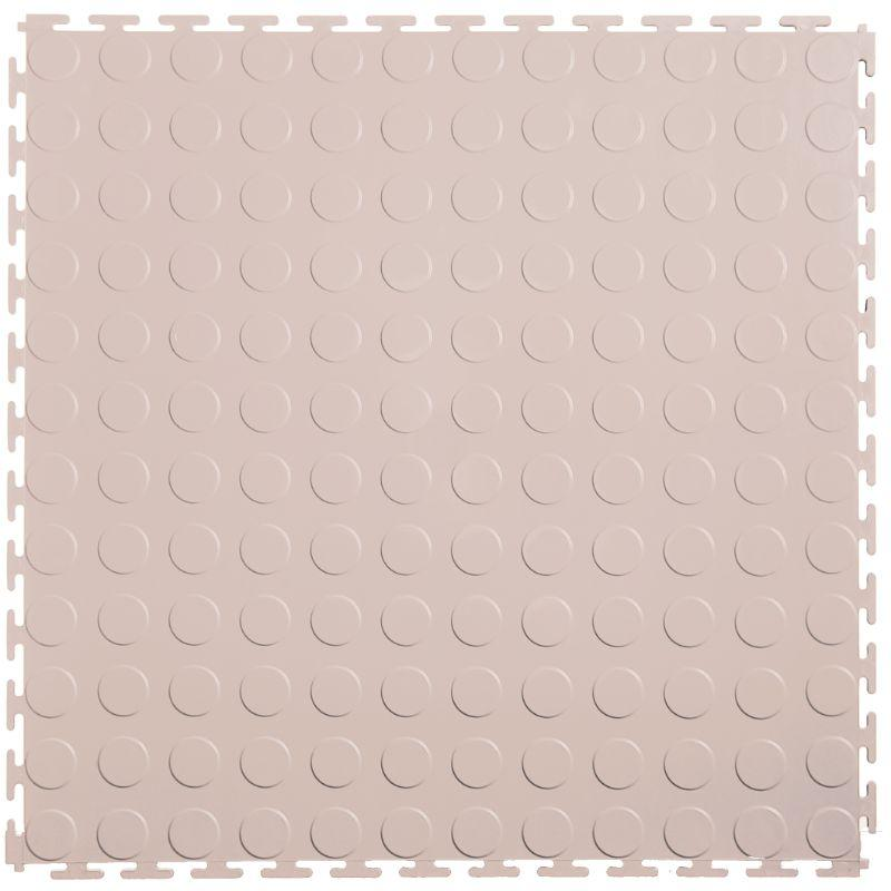 "Lock-Tile PVC Coin Tiles (19.625"" x 19.625"") in Tan Color Shown From the Top"