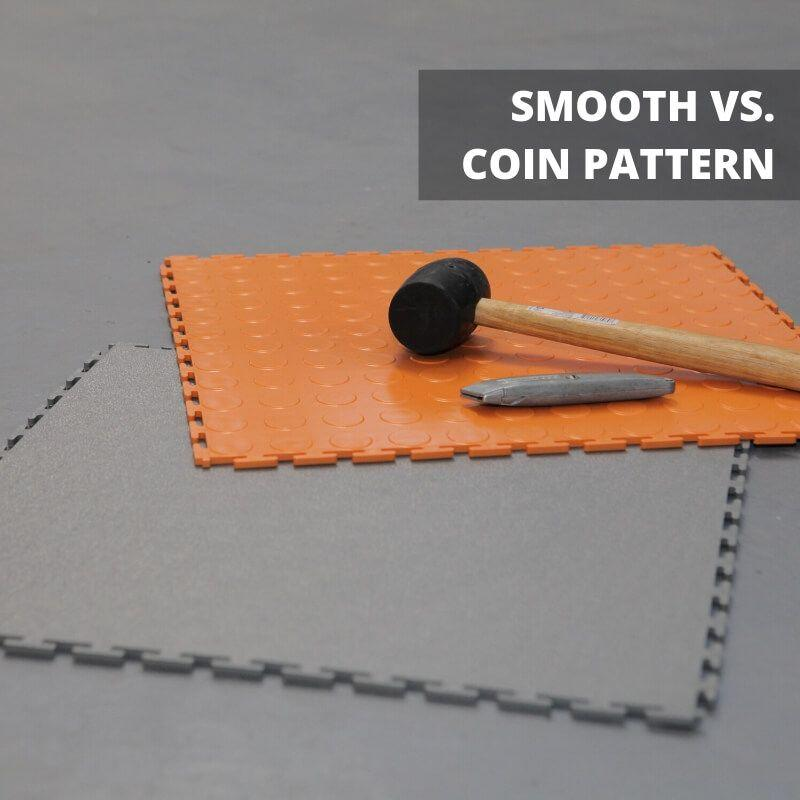 "Lock-Tile PVC Coin Tiles (19.625"" x 19.625"") Available in Coin vs. Smooth Pattern Tiles"