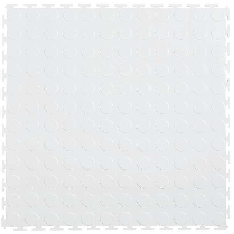 "Lock-Tile PVC Coin Tiles (19.625"" x 19.625"") in White Shown From the Top"