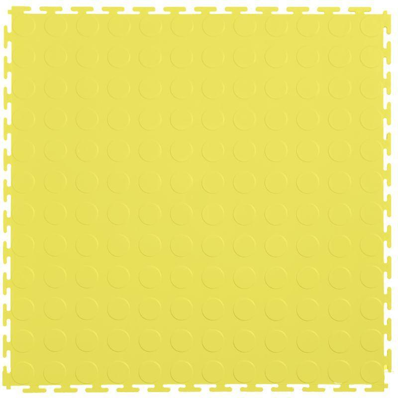 "Lock-Tile PVC Coin Tiles (19.625"" x 19.625"") in Yellow Shown From the Top"