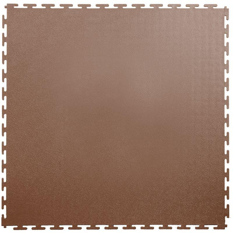 "Lock-Tile PVC Smooth Tiles (19.625"" x 19.625"") in Brown Shown From the Top"