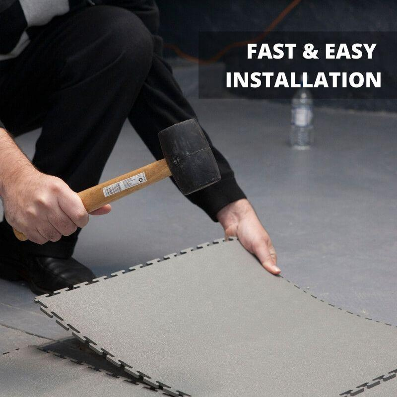 "Lock-Tile PVC Smooth Tiles (19.625"" x 19.625"") Fast Easy DIY Installation"