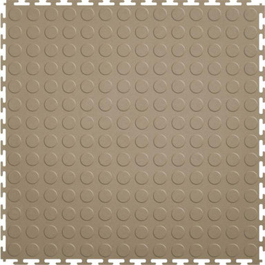 "Perfection Floor Tile Vinyl Coin Tiles - 5mm Thick (20.5"" x 20.5"") in Beige Shown From the Top"