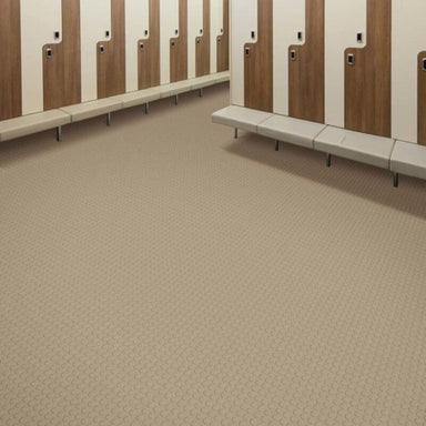 Perfection Floor Tile Vinyl Coin Tiles in Beige Shown in Context of Locker Room