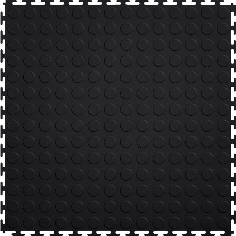 "Perfection Floor Tile Vinyl Coin Tiles - 5mm Thick (20.5"" x 20.5"") in Black Shown From the Top"