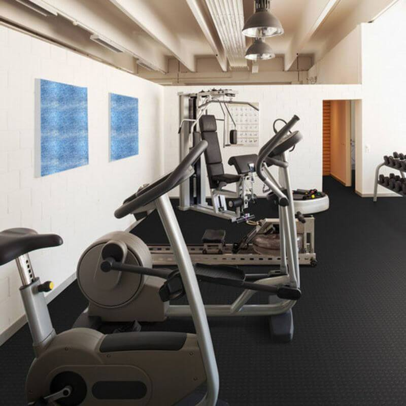 Perfection Floor Tile Vinyl Coin Tiles in Black Shown in Context of a Home Gym