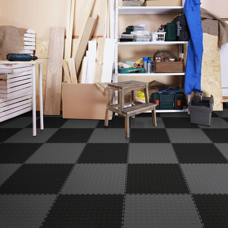 Perfection Floor Tile Vinyl Coin Tiles in Black Shown in Context of a Garage
