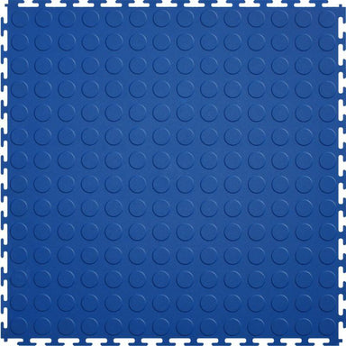 "Perfection Floor Tile Vinyl Coin Tiles - 5mm Thick (20.5"" x 20.5"") in Blue Shown From the Top"