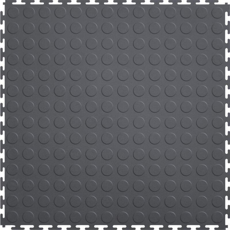 Perfection Floor Tile Vinyl Coin Tiles in Dark Gray Shown from the Top