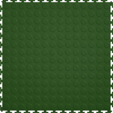 "Perfection Floor Tile Vinyl Coin Tiles - 5mm Thick (20.5"" x 20.5"") in Green Shown From the Top"