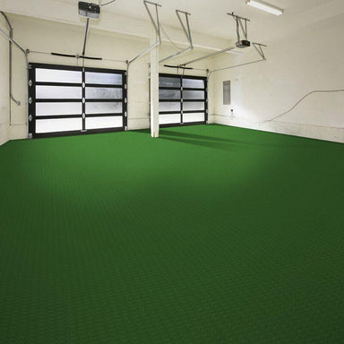 Perfection Floor Tile Vinyl Coin Tiles in Green Shown in Context of a Garage