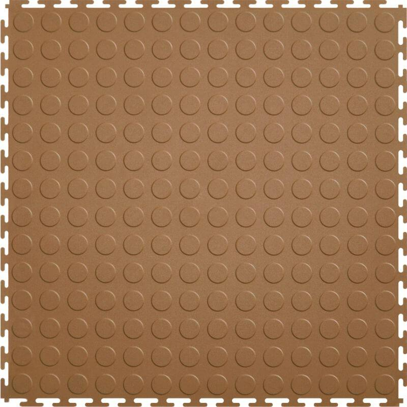 Perfection Floor Tile Vinyl Coin Tiles in Tan Color Shown from the Top