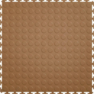 "Perfection Floor Tile Vinyl Coin Tiles - 5mm Thick (20.5"" x 20.5"") in Tan Color Shown From the Top"