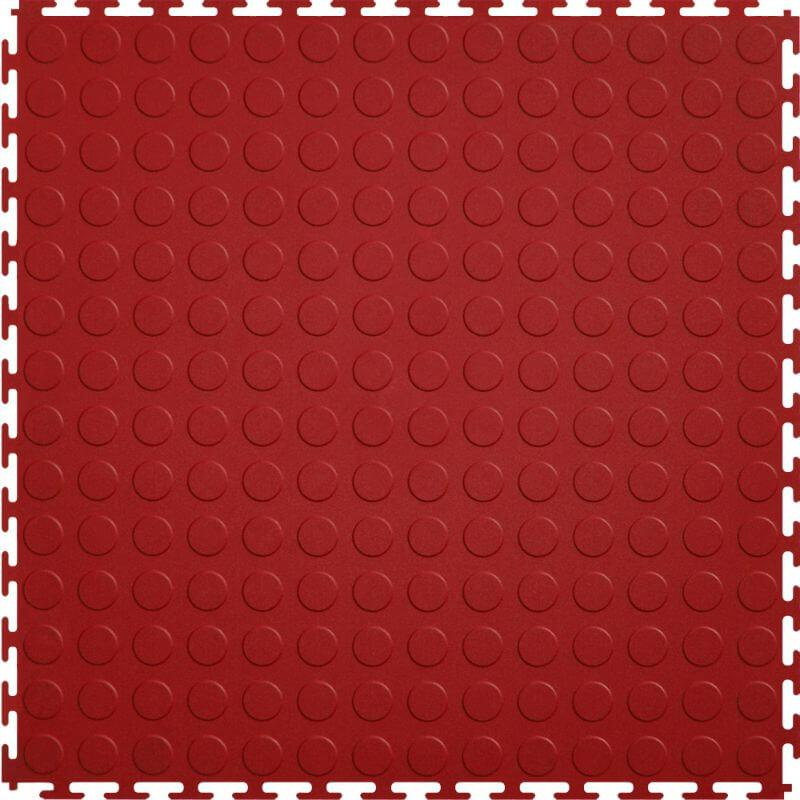 "Perfection Floor Tile Vinyl Coin Tiles - 5mm Thick (20.5"" x 20.5"") in Red Shown From the Top"