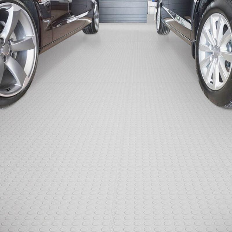 Perfection Floor Tile Vinyl Coin Tiles in White Shown in Context of a Garage