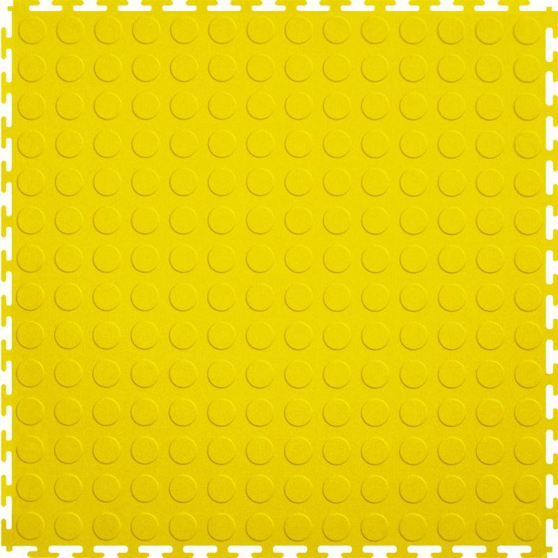 "Perfection Floor Tile Vinyl Coin Tiles - 5mm Thick (20.5"" x 20.5"") in Yellow Shown From the Top"