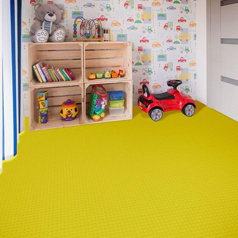 Perfection Floor Tile Vinyl Coin Tiles in Yellow Shown in Context of a Child's Play Room