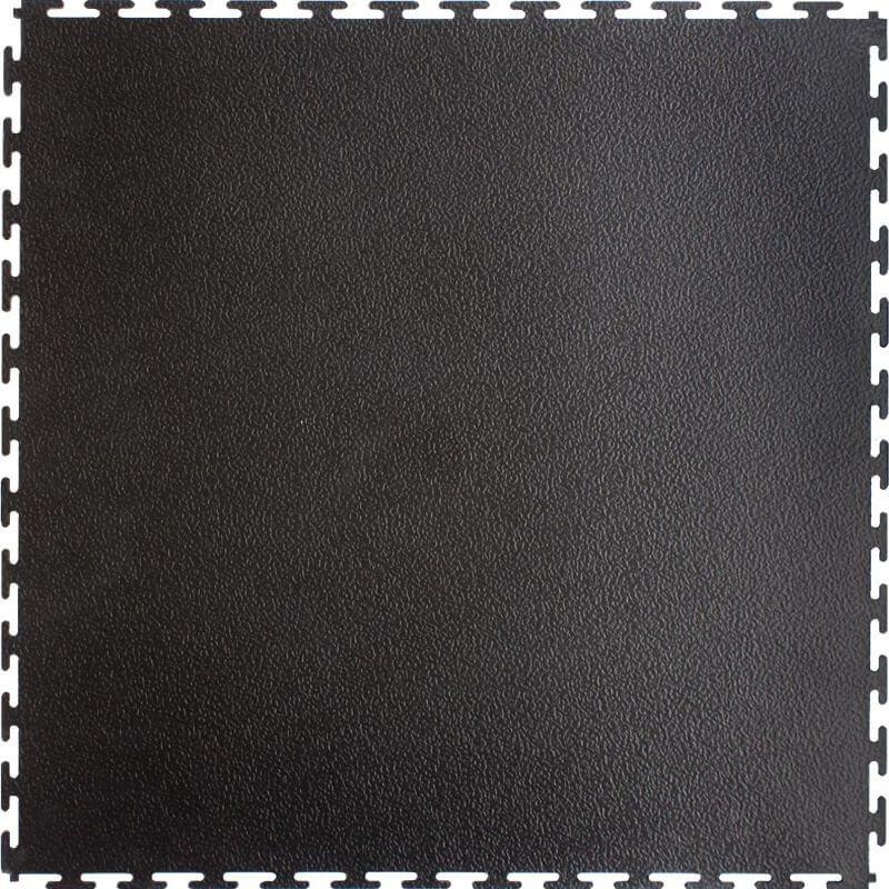 "Perfection Floor Tile Commercial Vinyl Smooth Tiles - 5mm Thick (20.5"" x 20.5"") in Black Shown from the Top"