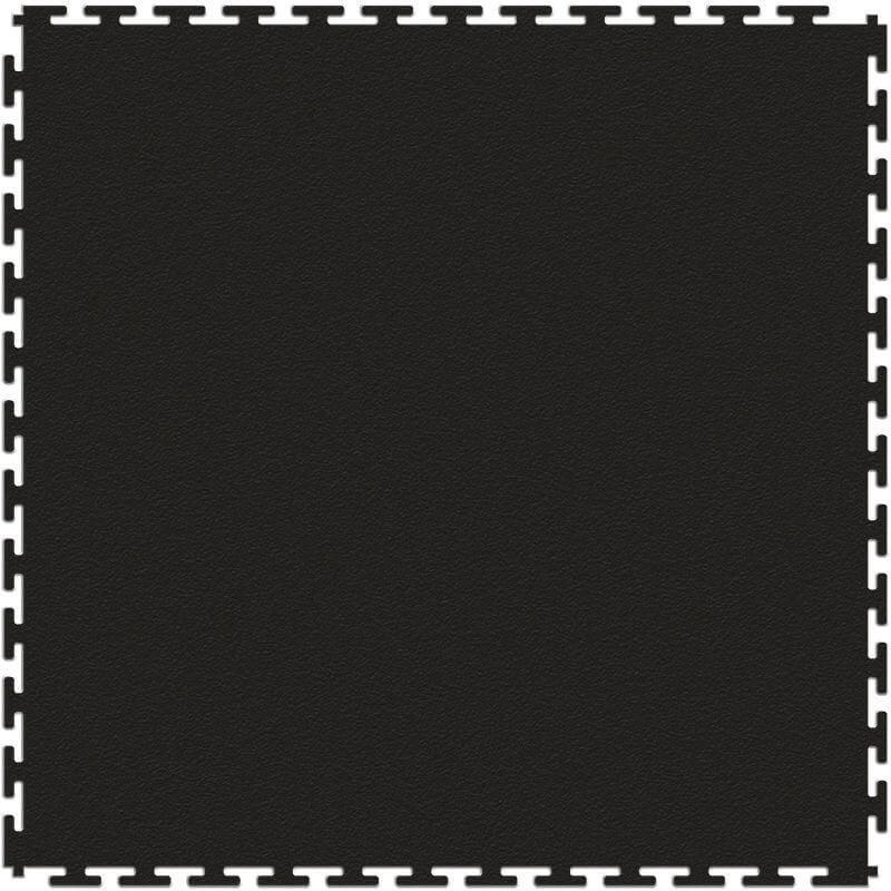 "Perfection Floor Tile Duro-Gym Vinyl Smooth Tiles - 7mm Thick (20.5"" x 20.5"") in Black Shown from the Top"