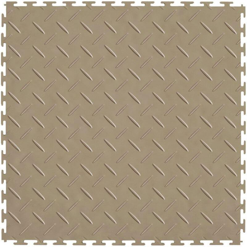 "Perfection Floor Tile Vinyl Diamond Tiles - 5mm Thick (20.5"" x 20.5"") in Beige Shown From the Top"