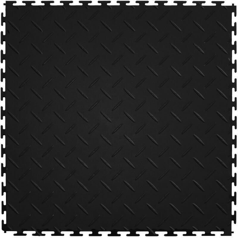 "Perfection Floor Tile Vinyl Diamond Tiles - 5mm Thick (20.5"" x 20.5"") in Black Shown From the Top"