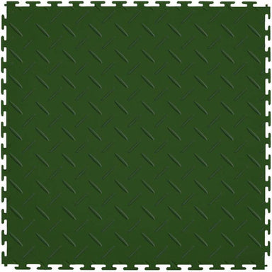 "Perfection Floor Tile Vinyl Diamond Tiles - 5mm Thick (20.5"" x 20.5"") in Green Shown From the Top"