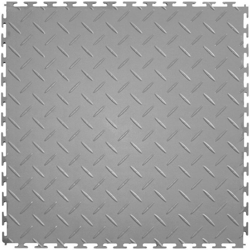 Perfection Floor Tile Vinyl Diamond Tiles in Light Gray Shown from the Top