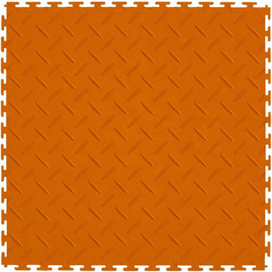 "Perfection Floor Tile Vinyl Diamond Tiles - 5mm Thick (20.5"" x 20.5"") in Orange Shown From the Top"