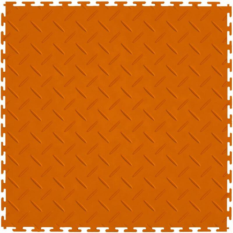 Perfection Floor Tile Vinyl Diamond Tiles in Orange Shown from the Top