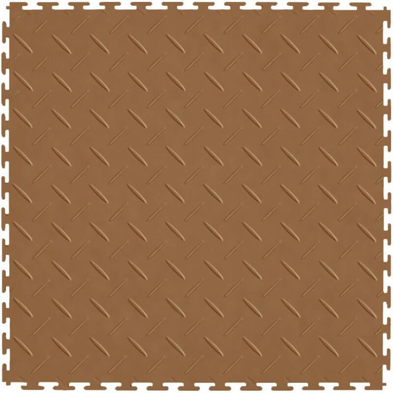 Perfection Floor Tile Vinyl Diamond Tiles in Tan Color Shown from the Top